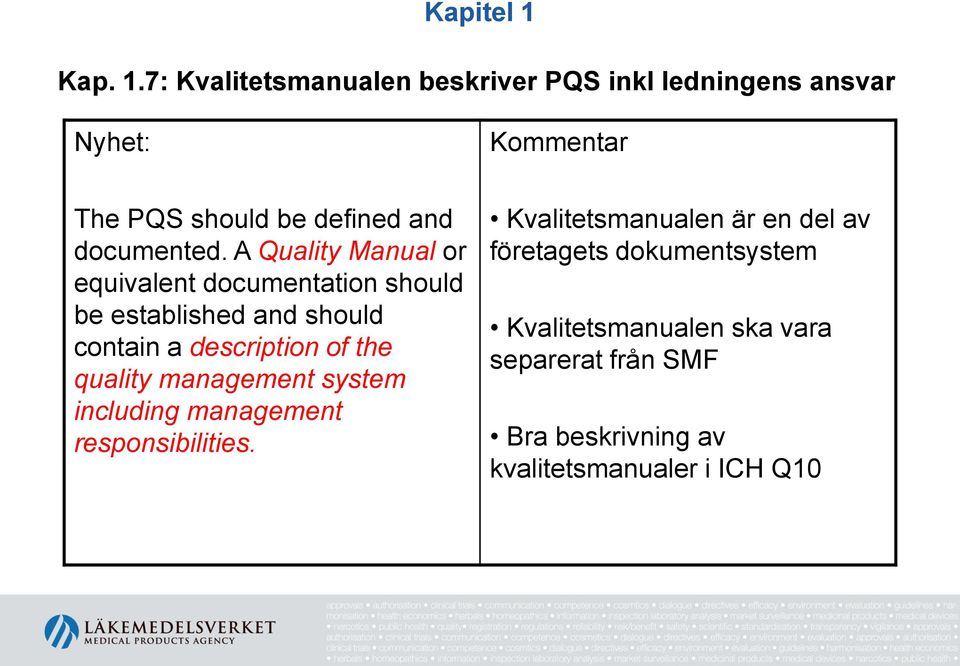 7: Kvalitetsmanualen beskriver PQS inkl ledningens ansvar Nyhet: Kommentar The PQS should be defined and