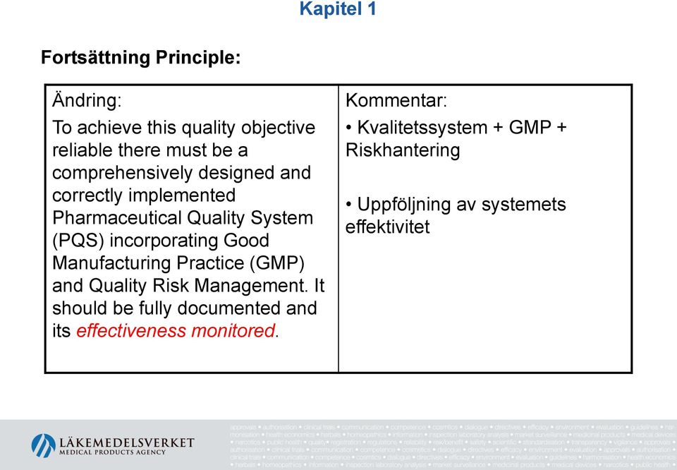 incorporating Good Manufacturing Practice (GMP) and Quality Risk Management.