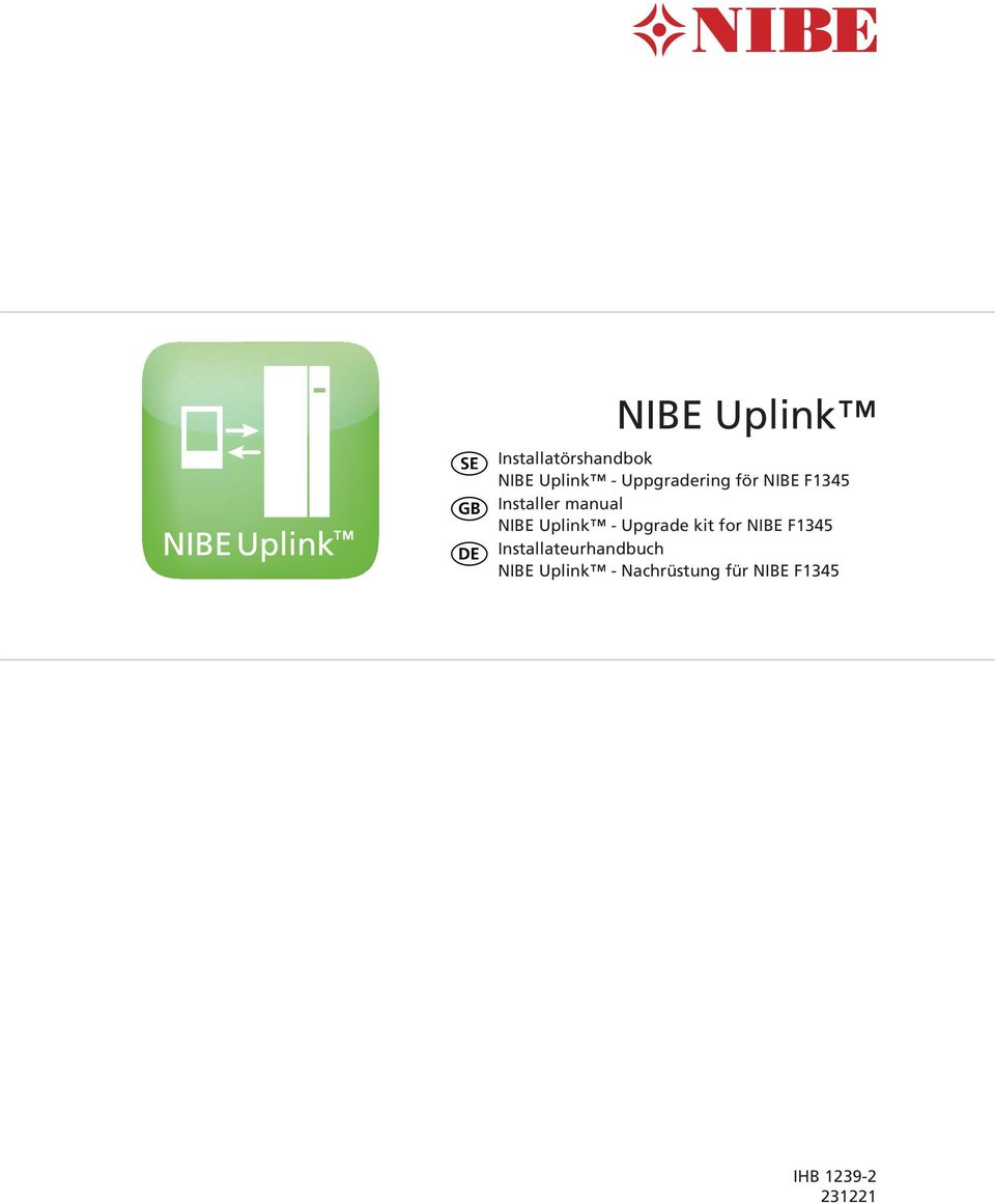 Uplink - Upgrade kit for NIBE F1345