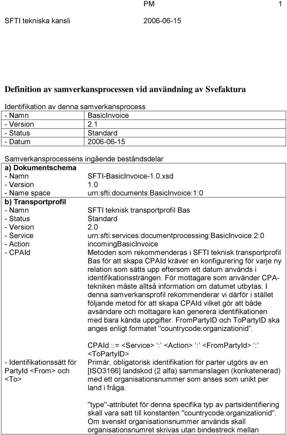 0 - Name space urn:sfti:documents:basicinvoice:1:0 b) Transportprofil - Namn SFTI teknisk transportprofil Bas - Status Standard - Version 2.