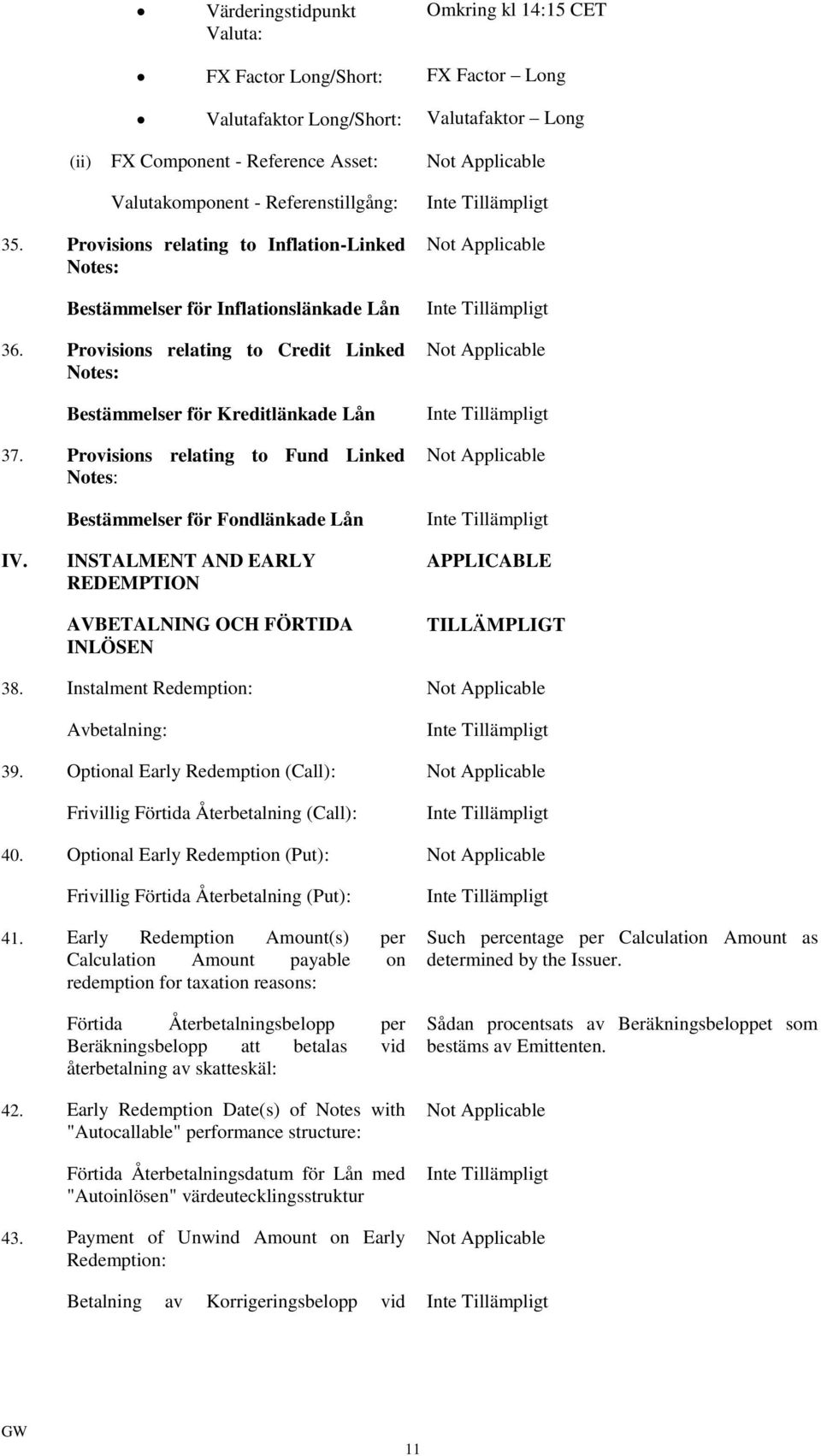 Provisions relating to Fund Linked Notes: Bestämmelser för Fondlänkade Lån Not Applicable Not Applicable Not Applicable IV.