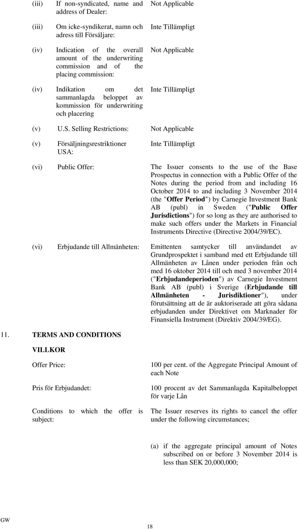 Selling Restrictions: Not Applicable (v) Försäljningsrestriktioner USA: (vi) Public Offer: The Issuer consents to the use of the Base Prospectus in connection with a Public Offer of the Notes during