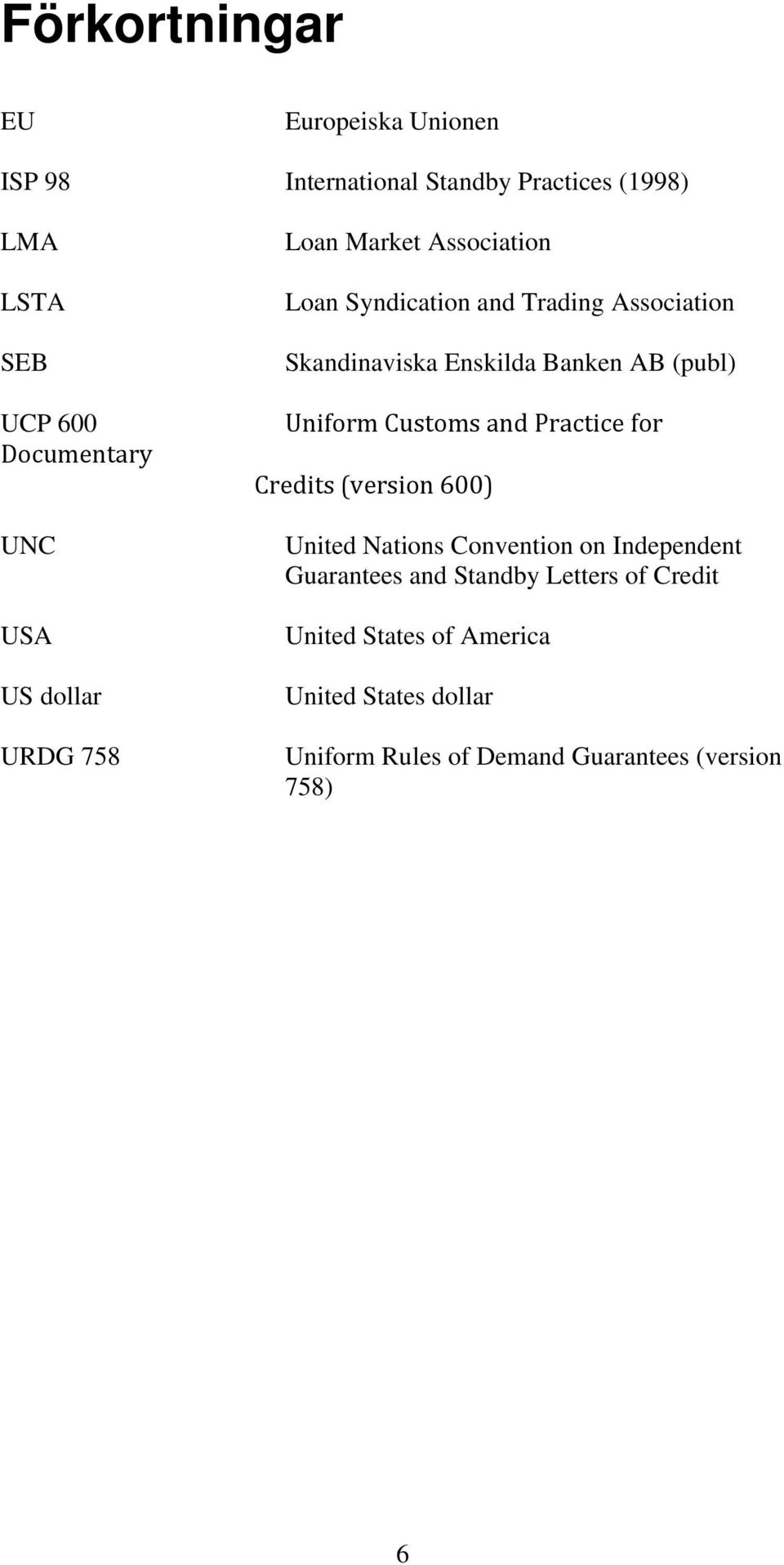 AB (publ) Uniform Customs and Practice for Credits (version 600) United Nations Convention on Independent Guarantees