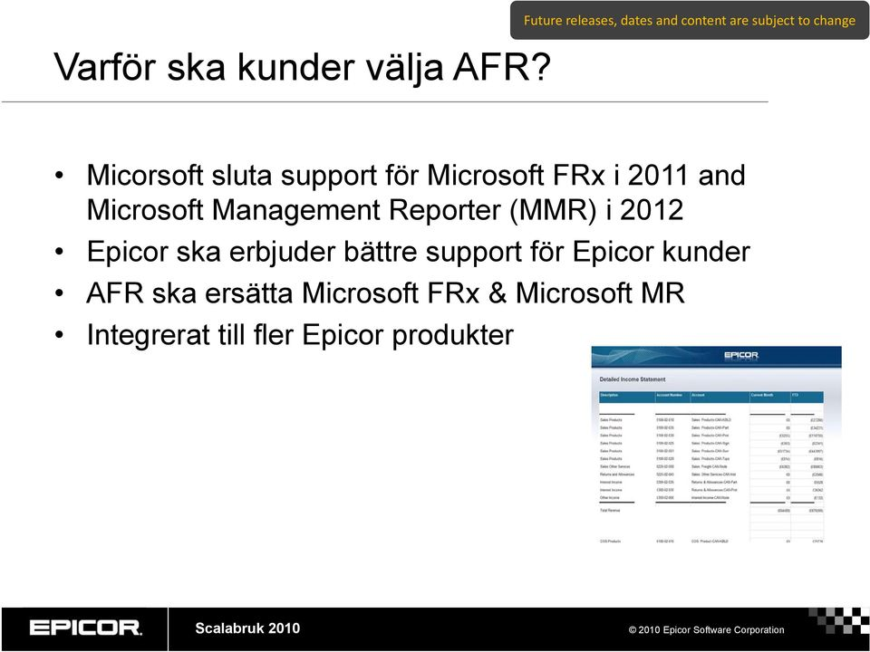 support för Microsoft FRx i 2011 and Microsoft Management Reporter (MMR) i 2012