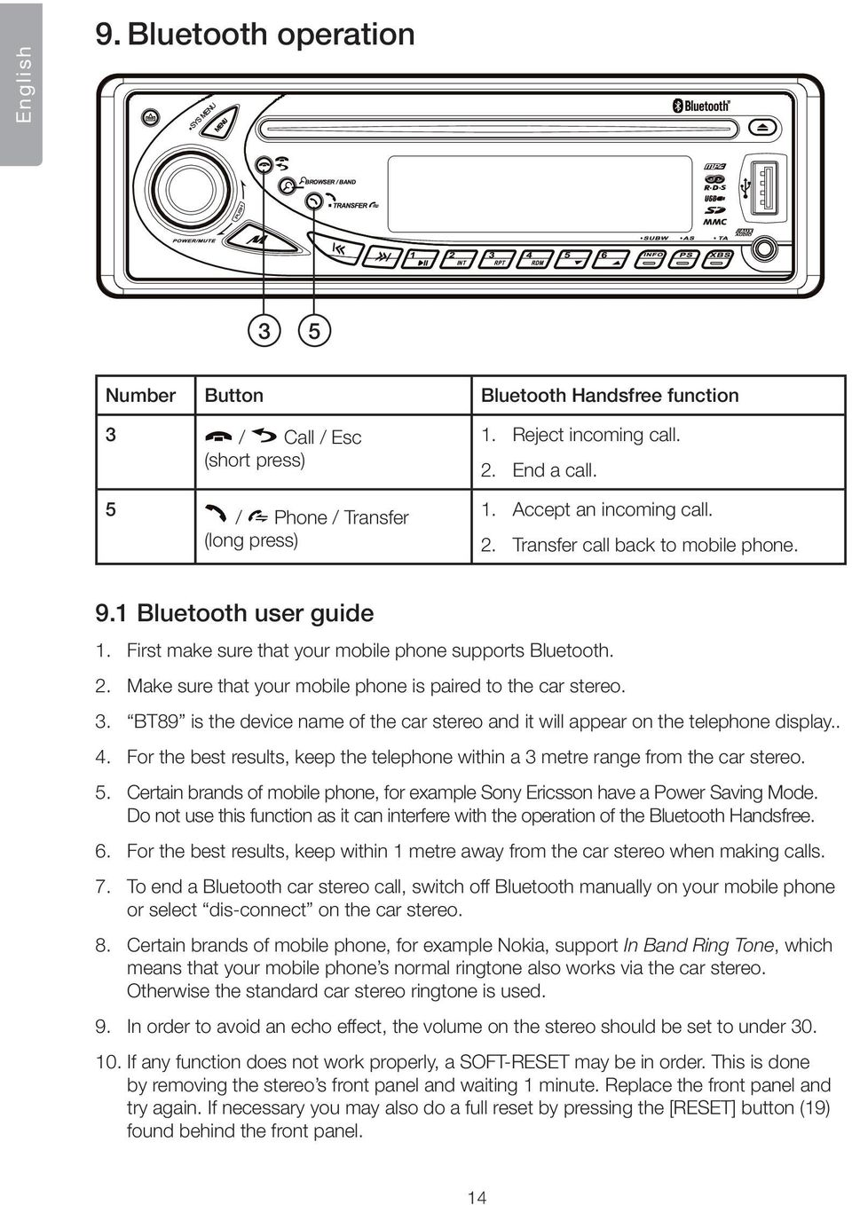 3. BT89 is the device name of the car stereo and it will appear on the telephone display.. 4. For the best results, keep the telephone within a 3 metre range from the car stereo. 5.