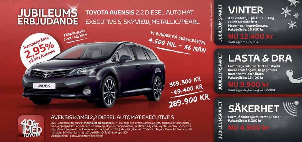 Innehåller bland annat: 17 alufälg, precrash Safety system, adaptive cruise control, lane keeping assist, lane departure warning, skyview panoramatak, multimediasystem Toyota Touch & Go med 11