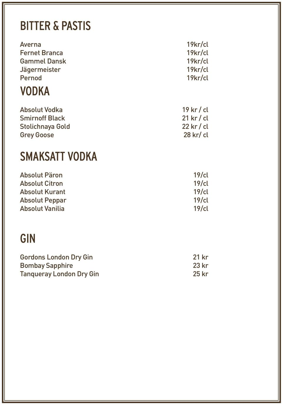 VODKA Absolut Päron Absolut Citron Absolut Kurant Absolut Peppar Absolut Vanilia 19/cl 19/cl