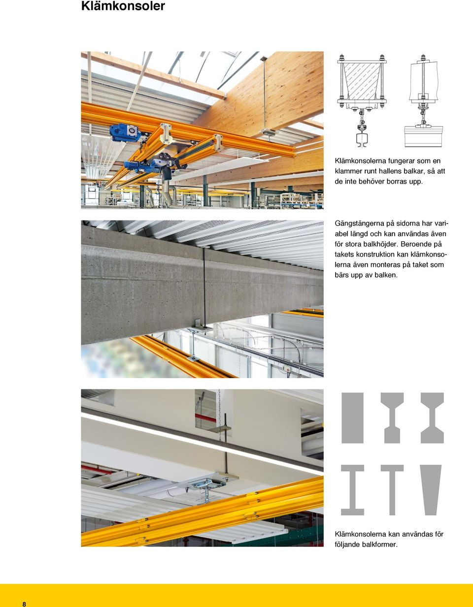Deckenanschluss HB Anschluss an Beton- oder Holzbinder Umklammerungskonsole HB160/200/250 Aufhängelast / Suspension load FA 16kN HB Ceiling Connection Mounting on concrete or wooden beams Embracing