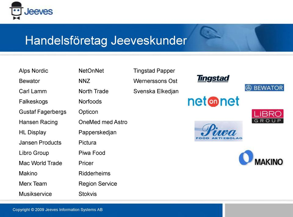 Musikservice NetOnNet NNZ North Trade Norfoods Opticon OneMed med Astro Papperskedjan