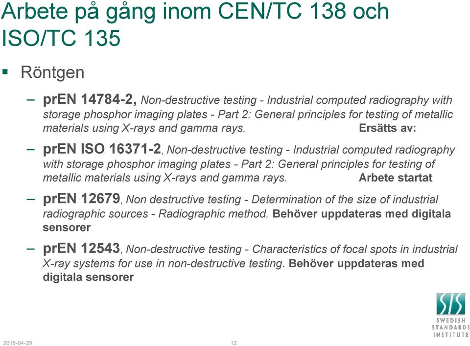 Ersätts av: pren ISO 16371-2, Non-destructive testing - Industrial computed radiography with storage phosphor imaging plates - Part 2: General principles for  Arbete startat pren 12679, Non