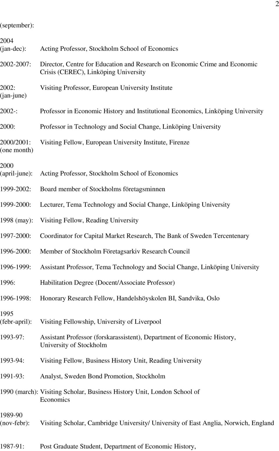 Social Change, Linköping University 2000/2001: Visiting Fellow, European University Institute, Firenze (one month) 2000 (april-june): Acting Professor, Stockholm School of Economics 1999-2002: Board