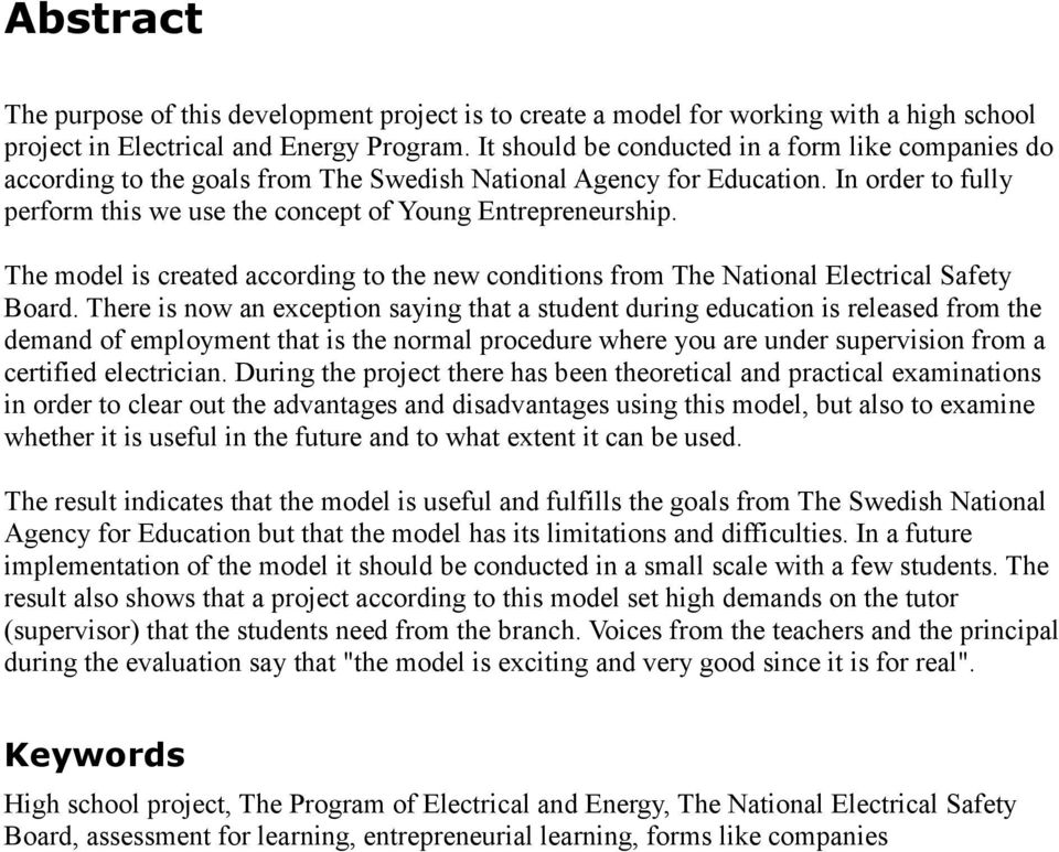 The model is created according to the new conditions from The National Electrical Safety Board.