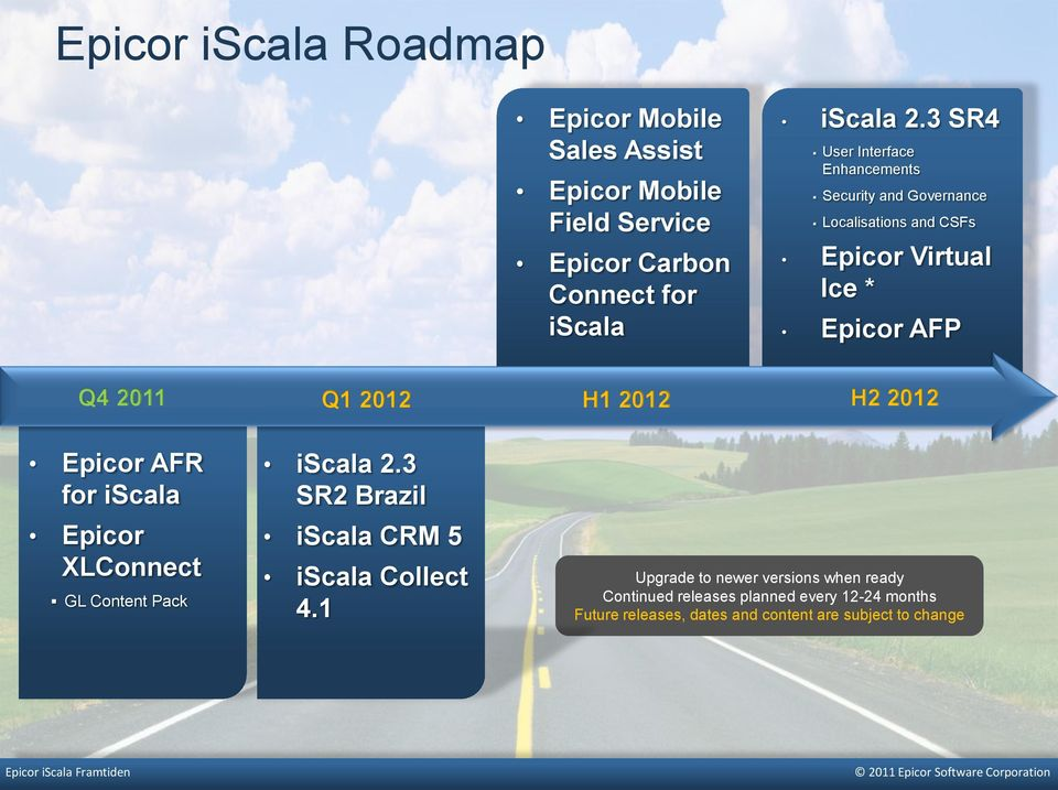 2012 Q1 2012 Epicor AFR for iscala Epicor XLConnect GL Content Pack iscala 2.3 SR2 Brazil iscala CRM 5 iscala Collect 4.