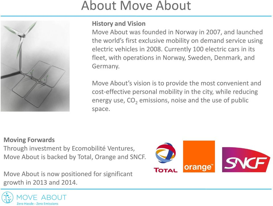 Move About s vision is to provide the most convenient and cost-effective personal mobility in the city, while reducing energy use, CO 2 emissions, noise and