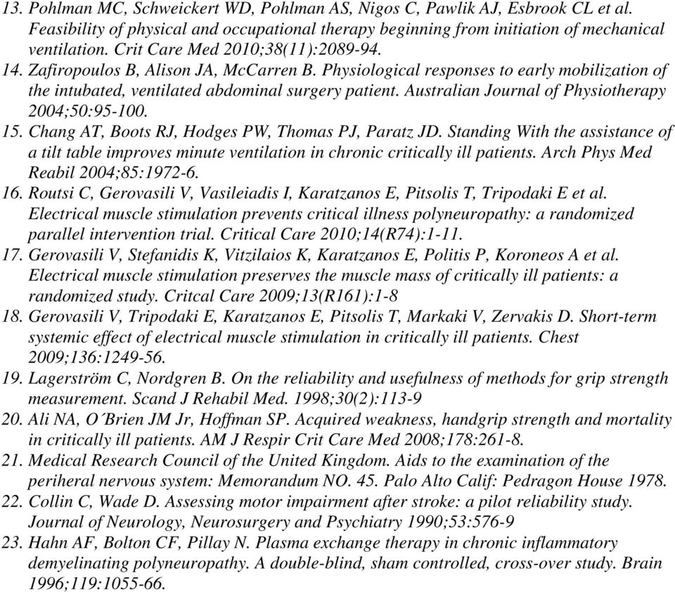 Australian Journal of Physiotherapy 2004;50:95-100. 15. Chang AT, Boots RJ, Hodges PW, Thomas PJ, Paratz JD.