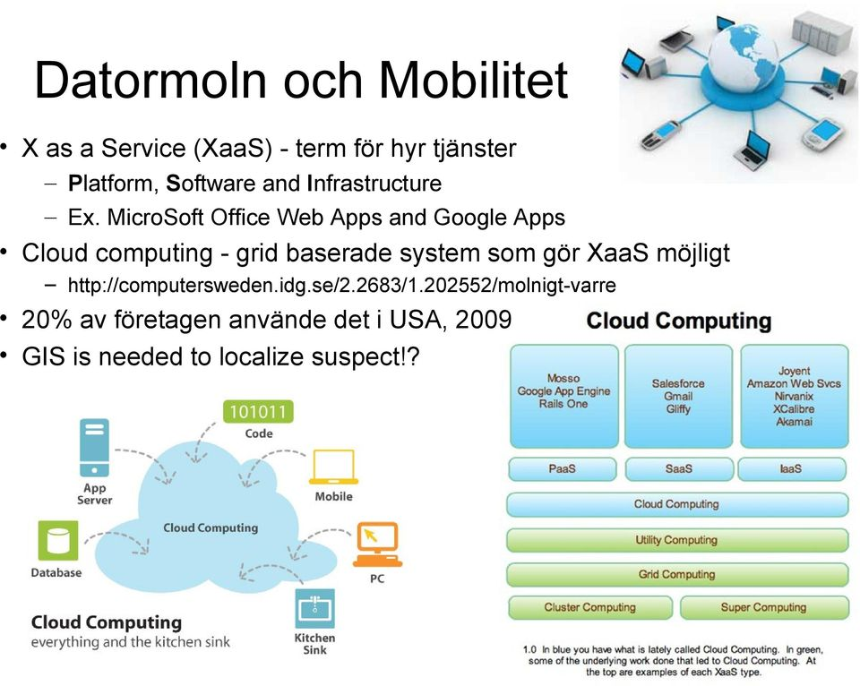 MicroSoft Office Web Apps and Google Apps Cloud computing - grid baserade system som