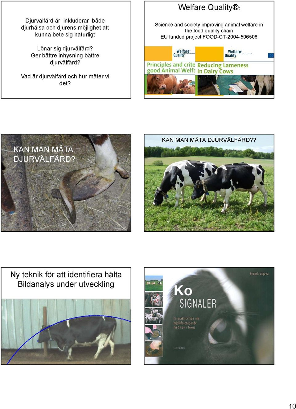 Science and society improving animal welfare in the food quality chain EU funded project FOOD-CT-2004-506508 Forskning för att utveckla