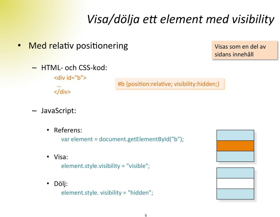 visibility:hidden;} JavaScript: Referens: var element = document.