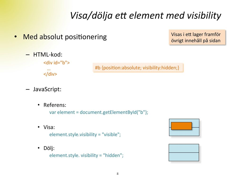{posidon:absolute; visibility:hidden;} JavaScript: Referens: var element = document.