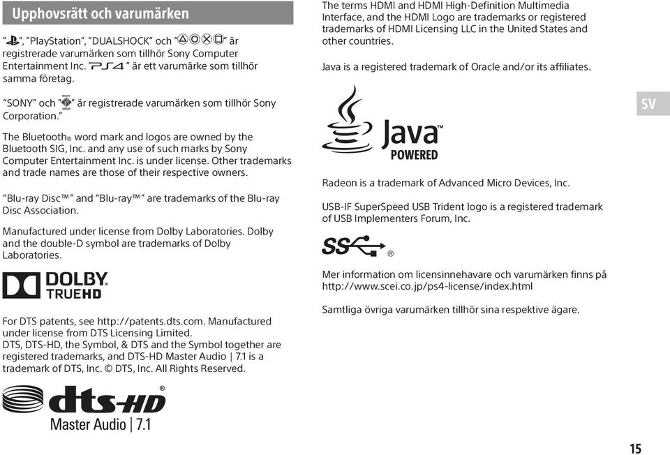 Java is a registered trademark of Oracle and/or its affiliates. SONY och Corporation.