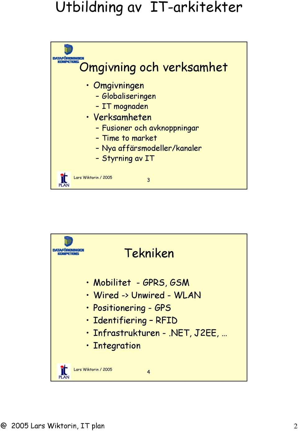 IT 3 Tekniken Mobilitet - GPRS, GSM Wired -> Unwired - WLAN Positionering - GPS