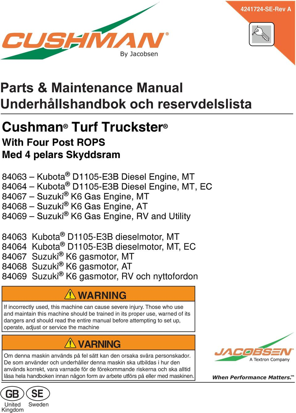 Kubota D1105-E3B dieselmotor, MT, EC 84067 Suzuki K6 gasmotor, MT 84068 Suzuki K6 gasmotor, AT 84069 Suzuki K6 gasmotor, RV och nyttofordon WARNING If incorrectly used, this machine can cause severe