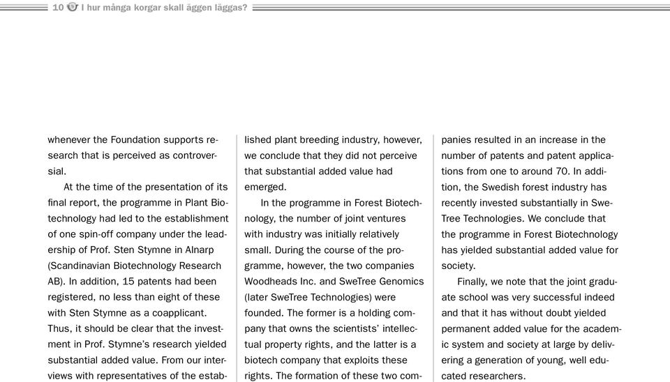 Sten Stymne in Alnarp (Scandinavian Biotechnology Research AB). In addition, 15 patents had been registered, no less than eight of these with Sten Stymne as a coapplicant.