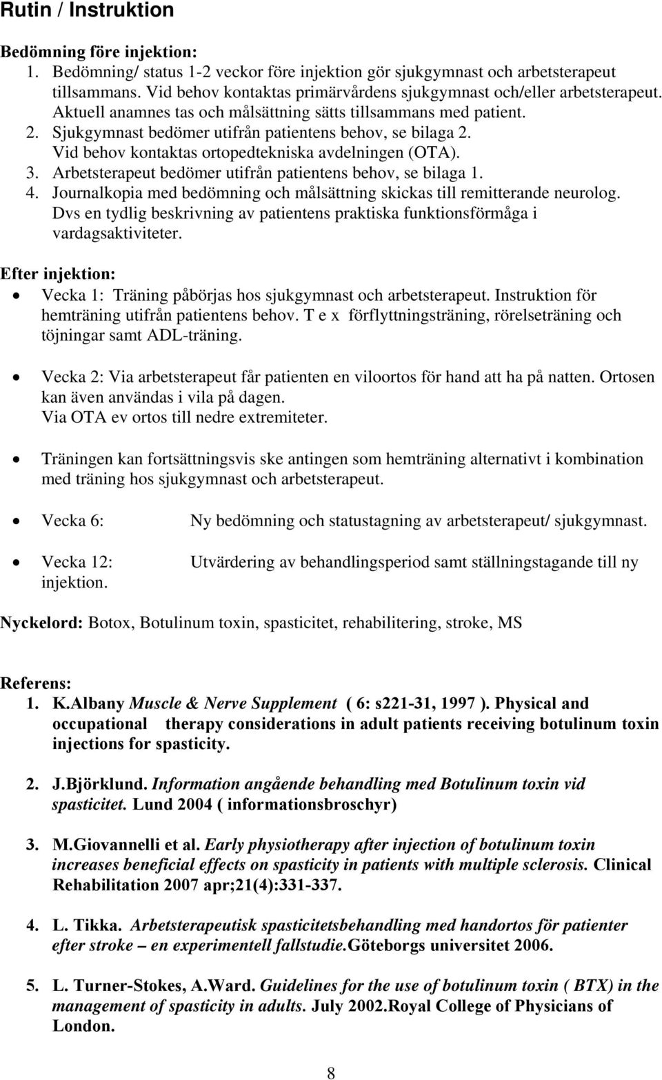 clinical guidelines for stroke management occupational therapy