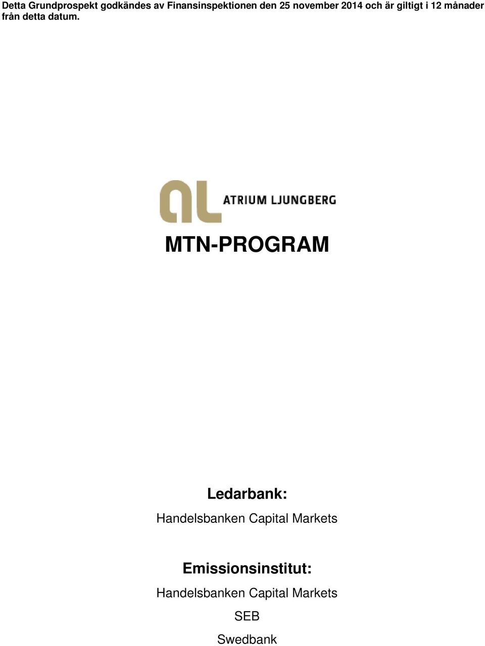 MTN-PROGRAM Ledarbank: Handelsbanken Capital Markets