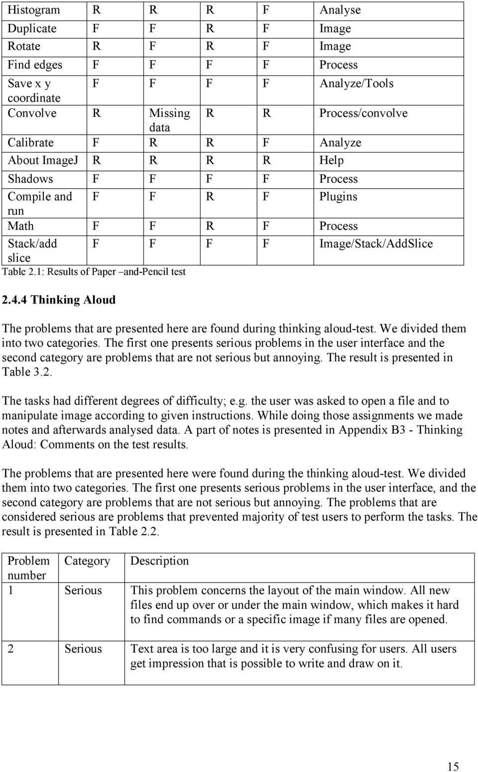 1: Results of Paper and-pencil test 2.4.4 Thinking Aloud The problems that are presented here are found during thinking aloud-test. We divided them into two categories.