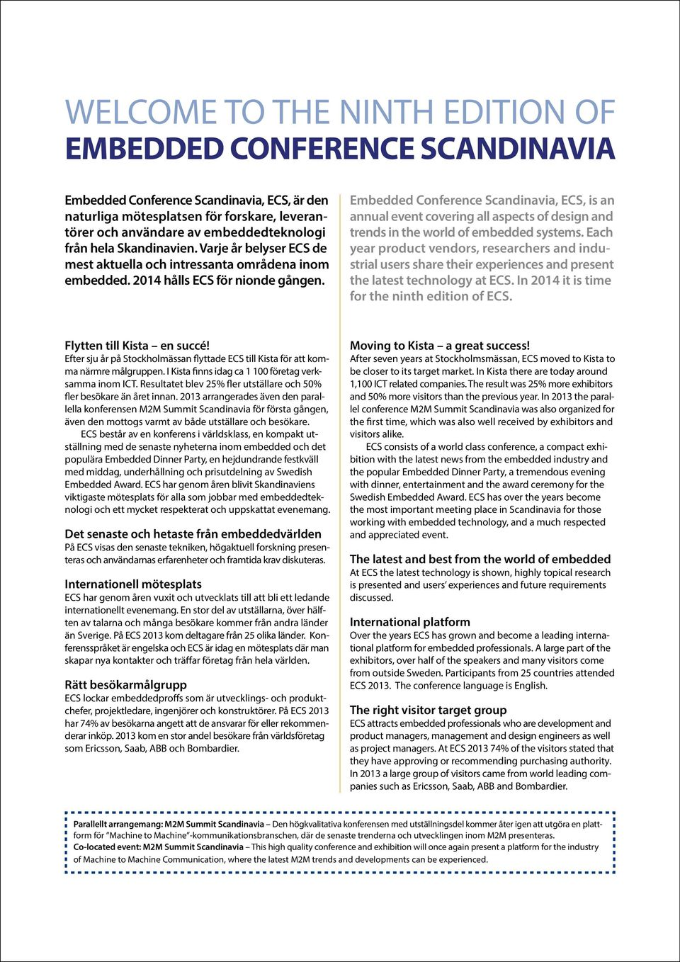 Embedded Conference Scandinavia, ECS, is an annual event covering all aspects of design and trends in the world of embedded systems.