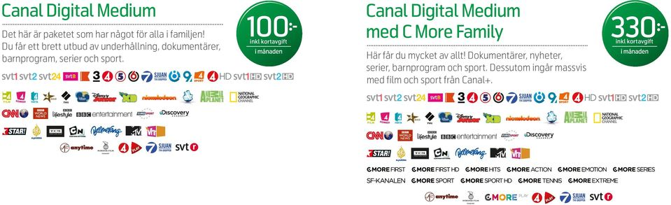 100 Canal Digital Medium med C More Family 330 inkl kortavgift inkl kortavgift Här får du