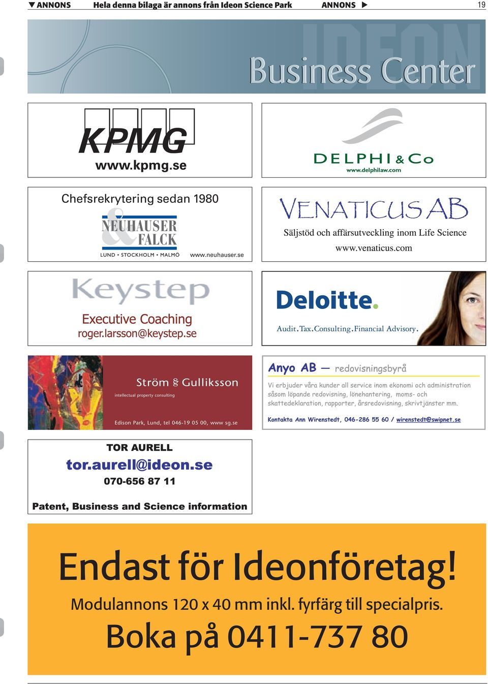 se intellectual property consulting Edison Park, Lund, tel 046-19 05 00, www
