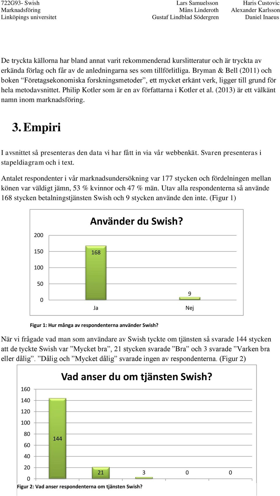 (2013) är ett välkänt namn inom marknadsföring. 3. Empiri I avsnittet så presenteras den data vi har fått in via vår webbenkät. Svaren presenteras i stapeldiagram och i text.