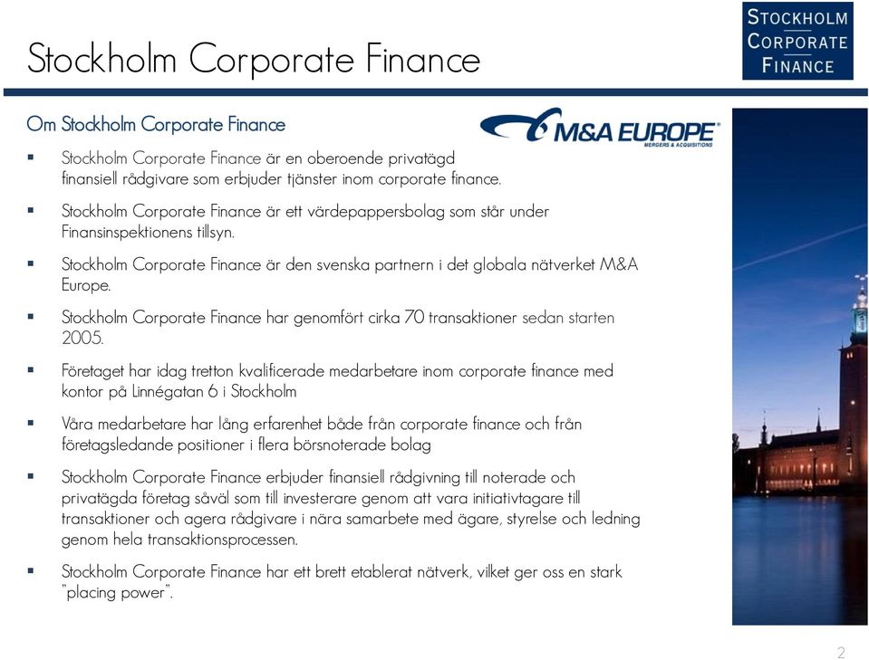 corporate finance stockholm