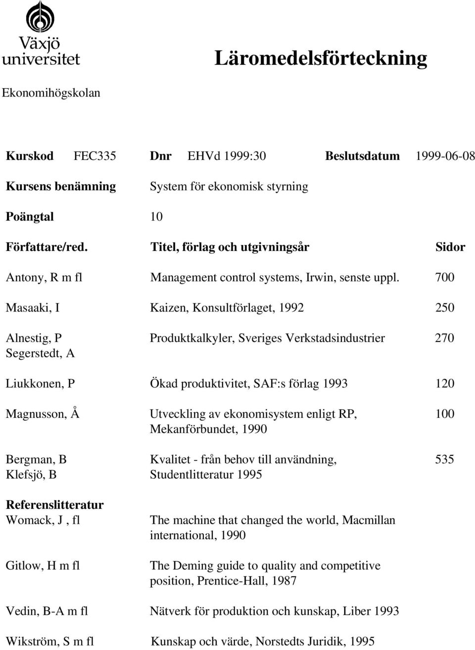 Mekanförbundet, 1990 Studentlitteratur 1995 The Deming guide to quality and