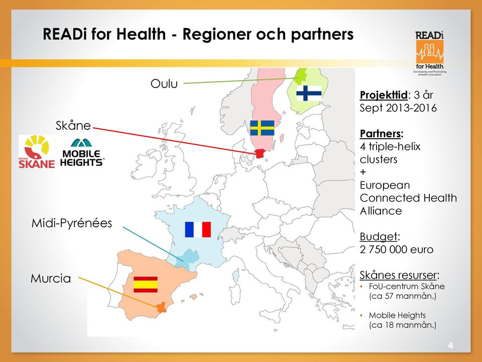 + European Connected Health Alliance Budget: 2 750 000 euro Skånes