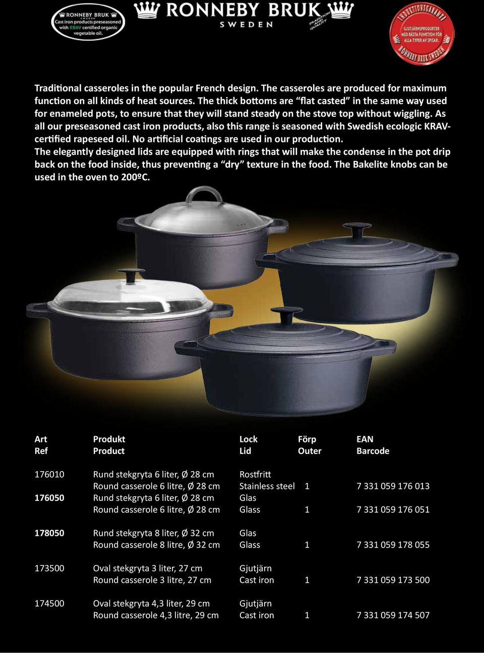 As all our preseasoned cast iron products, also this range is seasoned with Swedish ecologic KRAVcertified rapeseed oil. No artificial coatings are used in our production.