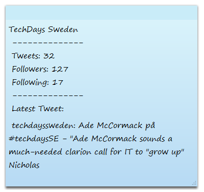 "$User = ""techdayssweden"" $Text = ""TechDays Sweden"", [char]10, ""--------------"", [char]10, ""Tweets: $((GetTweets $User).Count)"", [char]10, ""Followers: $((GetFollowers $User)."