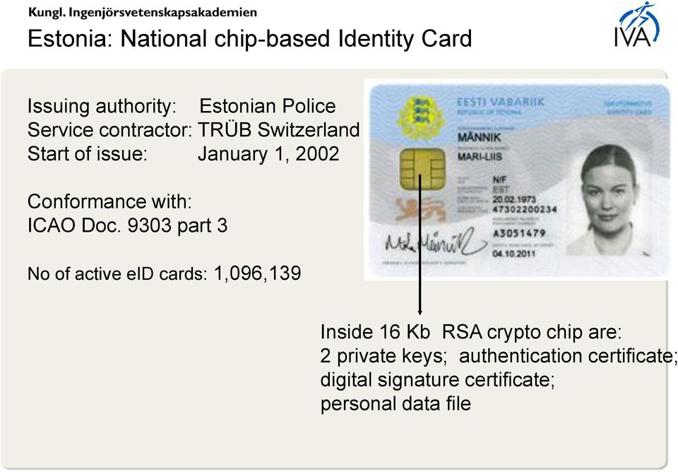 Doc. 9303 part 3 No of active eid cards: 1,096,139 Inside 16 Kb RSA crypto chip are: 2
