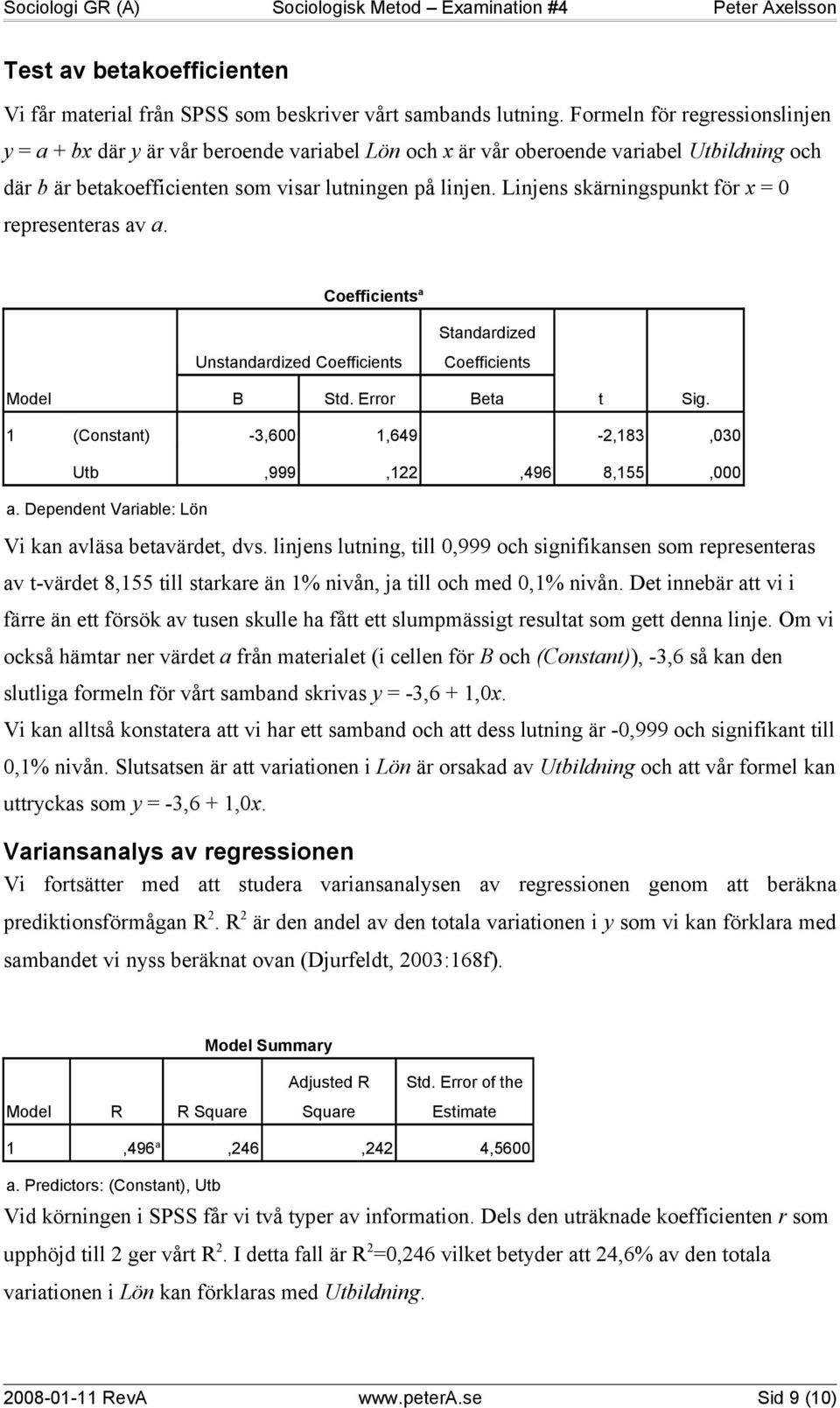 Linjens skärningspunkt för x = 0 representeras av a. Coefficients a Unstandardized Coefficients Standardized Coefficients Model B Std. Error Beta t Sig.