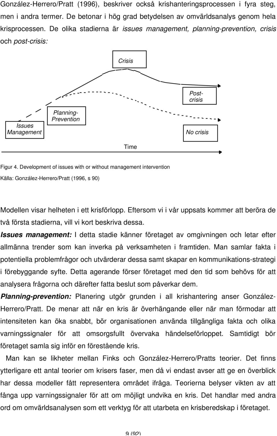 Development of issues with or without management intervention Källa: González-Herrero/Pratt (1996, s 90) Modellen visar helheten i ett krisförlopp.