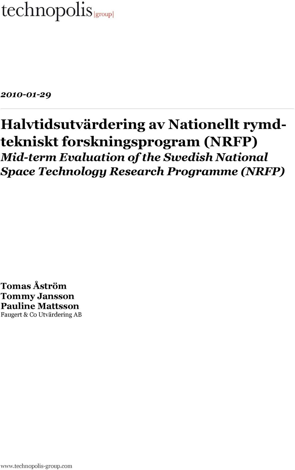 National Space Technology Research Programme (NRFP) Tomas Åström