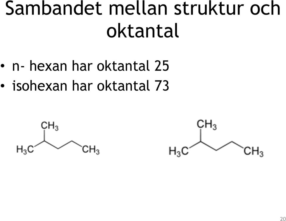 n- hexan har oktantal
