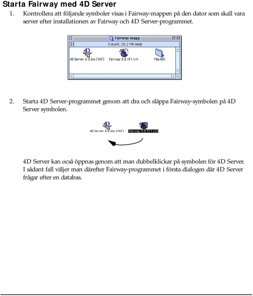 Fairway och 4D Server-programmet. 2.