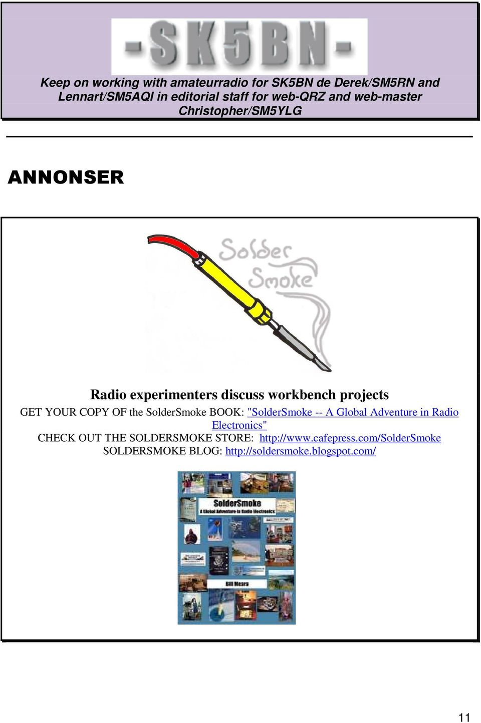 "YOUR COPY OF the SolderSmoke BOOK: ""SolderSmoke -- A Global Adventure in Radio Electronics"" CHECK OUT"