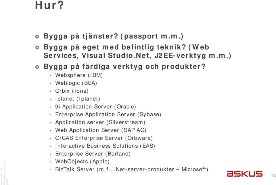 Application server (Silverstream) Web Application Server (SAP AG) OrCAS Enterprise Server (Orbware) Interactive Business Solutions