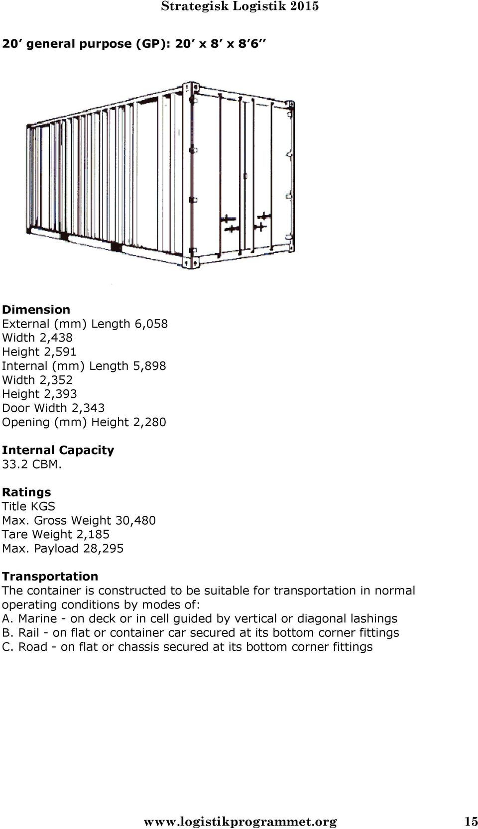Payload 28,295 Transportation The container is constructed to be suitable for transportation in normal operating conditions by modes of: A.
