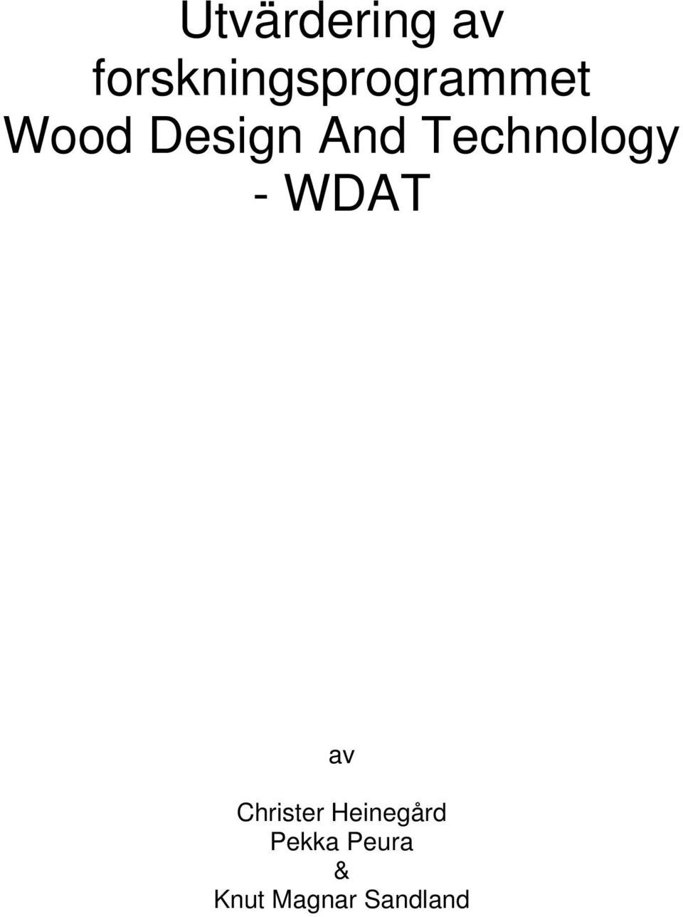 Design And Technology - WDAT av