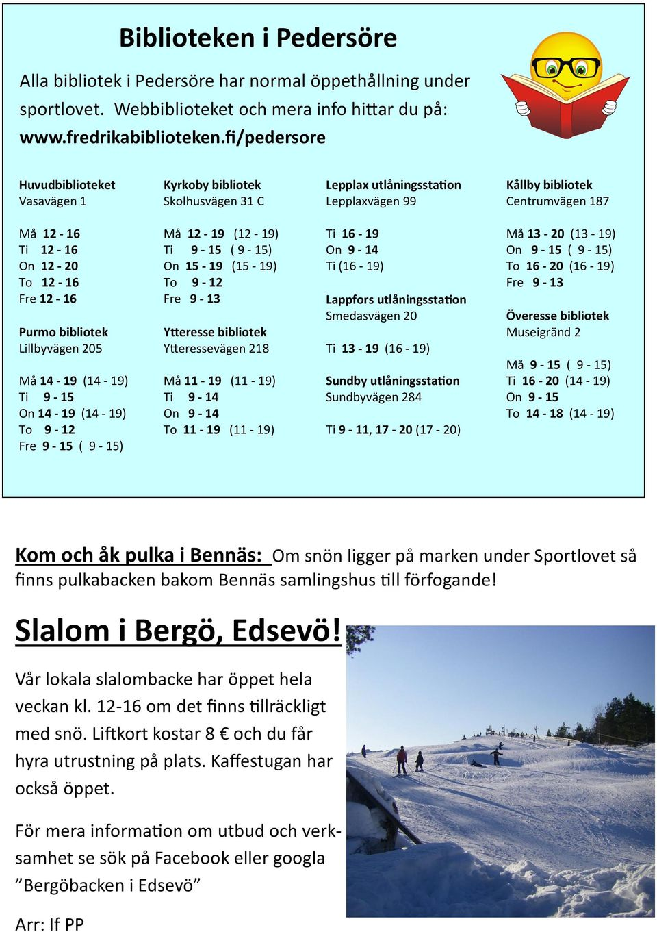 Purmo bibliotek Lillbyvägen 205 Må 14-19 (14-19) Ti 9-15 On 14-19 (14-19) To 9-12 Fre 9-15 ( 9-15) Må 12-19 (12-19) Ti 9-15 ( 9-15) On 15-19 (15-19) To 9-12 Fre 9-13 Ytteresse bibliotek